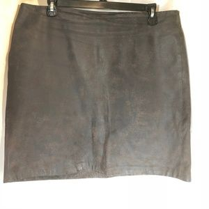 City DKNY Distressed Brown Leather A-Line Skirt 12
